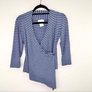 Soft Surroundings Asymmetrical Striped Top Size XS